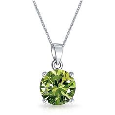 Bling Jewelry Bling Jewelry Simulated Peridot Cz Pendant Necklace... ($21) ❤ liked on Polyvore featuring jewelry, pendants, green, cz pendant necklace, green pendant necklace, artificial jewellery, imitation jewelry and green jewellery