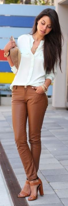 Camel Leather Pants
