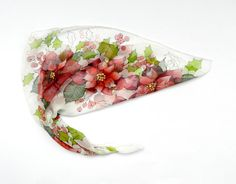 Poinsettia hand painted silk scarf. Holiday red by ArmeniaOnSilk, $55.00
