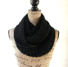 Black Cowl Scarf Fall Winter Women's Accessory Infinity Scarf by SouthernStitchesCo on Etsy