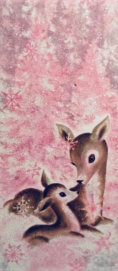 vintage MCM retro Christmas mama deer and baby fawn, pink background Reindeer Christmas Gift, Christmas Deer, Christmas Past, Retro Christmas, Vintage Christmas Cards, Vintage Holiday, Christmas Wreaths, Christmas Decorations, Christmas Quotes