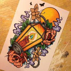 Unique traditional compass tattoo ideas on classic tatoo designs Traditional Compass Tattoo, New Traditional Tattoo, Traditional Tattoo Flash, Tattoo Sketches, Tattoo Drawings, Tatuagem New School, Lantern Tattoo, Tatoo Designs, Tattoo Motive