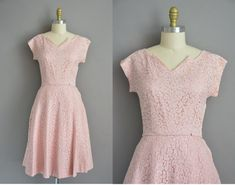 50s rhinestone covered pink lace vintage dress / vintage 1950s dress