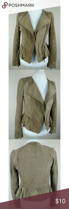 """Zara Basic Size 5 Peplum Lambskin Leather Jacket -Pre-Owned- Zara Basic Lambskin Leather Jacket with Peplum Ruffle. Not in the best condition there are no holes or rips. Just signs of wear..Will take best offer!  MEASURES (Approximately) 17"""" Chest 24"""" Length 14.5"""" shoulders Zara Basic Jackets & Coats"""