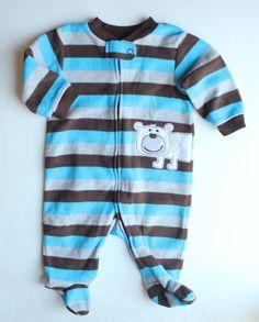 b557485b66 Baby Striped Fleece Sleeper with Bear
