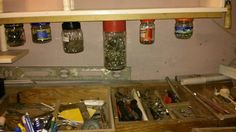 trying to organise my workshop. hard to do it, but idea of using jars was a good one. thank you again, pinterest #diy