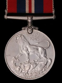 British War Medal 1939 - 1945. The red, white and blue stripes symbolized the Union Flag.