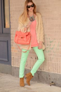 SO cute- mint pants, coral bags, and colorful necklace with some furry (faux) things.