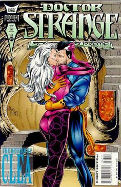 Doctor Strange and Clea kiss on the cover of 'Doctor Strange, Sorcerer Supreme' Vol 1 67 - July 1994.  Cover by Melvin Rubi and Fred Harper.