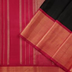 This stunning kanjivaram sari is in black. The korvai border in red has a gold tissue band, while the pallu features a seeprekku pattern and stripes in gold zari. Saris, Silk Sarees, Saree Collection, Black Silk, Collections, Elegant, Cover, Pattern, Red
