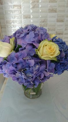 Blue Hydrangeas and roses in a vase Blue Hydrangea, Hydrangeas, Rose Vase, Roses, Flowers, Pink, Rose, Royal Icing Flowers, Flower