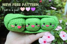 Amigurumi Food: NEW PATTERN Free pattern Peas in a pod!!