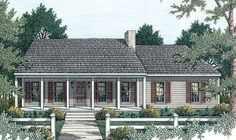 Elevation of Country   Ranch   House Plan 40026