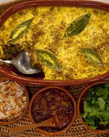 Bobotie - similar to Greek Moussaka, a lamb mince based dish with Malay spices.