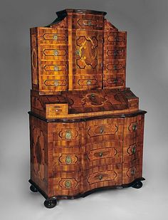 South German Bronze Mounted Walnut Parquetry Secretary Cabinet on Ruby Lane $29,500.00