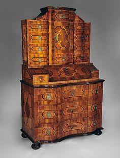 Antique German, Bronze Walnut Parquetry Secretary Cabinet
