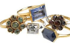 """Selection of Cheapside Hoard rings. 2 flower shaped rings, one set with cabochon emeralds; another enameled and set with garnets. Two gold rings set with sapphire. One gold ring set with a table cut diamond and enameled. Renaissance Jewelry, Medieval Jewelry, Ancient Jewelry, Old Jewelry, Antique Jewelry, Jewelery, Vintage Jewelry, Fine Jewelry, Vintage Rings"
