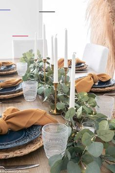 Simple Fall Tablescape - Kim Power Style - #thanksgivingtablesettings - Happy Fall everyone! Today I'll be sharing how I created my Simple Fall Tablescape and when I say simple I mean SIMPLE! I'm also joining together with some fellow bloggers who'll be sharing their Fall Tablescapes, so be sure to click on the links at the bottom of the post for more fall Inspiration! This was a simple tablescape to do and I...Read More »... Thanksgiving Table Settings, Thanksgiving Centerpieces, Table Centerpieces, Centerpiece Ideas, Natural Fall Decor, Painted Candlesticks, Starry String Lights, Glass Pumpkins, Fall Table