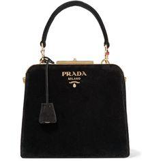 Prada Crystal-embellished velvet tote (84.435 ARS) ❤ liked on Polyvore featuring bags, handbags, tote bags, bolsas, purses, sac, black, velvet handbags, man tote bag and pocket tote