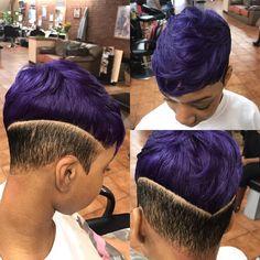 Other view of #thiscut #shorthairdontcare #thatcuttho #purplehair #purplerain #undercut #shorthairstyles #bkhairstylist #nyhairstylist @sophisticatesblackhairstyles #yaya✂