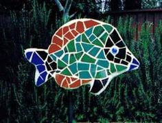 Fish Mosaic tile yard art / garden sculpture - Dolphins by Cindy