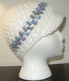White snow cap with stripe and brim. Want one? Only 5 bucks!