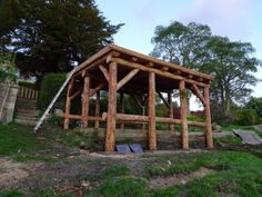 Ditchfield Crafts roundwood timber framed workshop under construction. Made from larch, it now has a living roof.