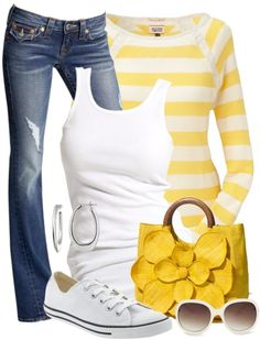 Perfect casual date night out to the movies or putt putt golf...just love a layered look; white tank top underneath a cute striped shirt, with comfy tennie shoes...thinking the worn blue jeans completes this ensemble, definitely an attractive converse outfit for us ladies...and oh, love the pop of yellow!!