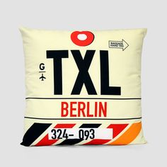 TXL - Berlin Tegel Airport - Pillow Cover Vintage Luggage Tags d2ac9c87eddb