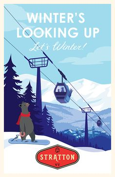 Showcase and discover creative work on the world's leading online platform for creative industries. Vintage Ski Posters, Custom Posters, Skiing Quotes, Winter Illustration, Mountain Art, Snow Skiing, Winter Scenes, Cover, Creations