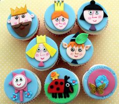 Cupcakes Take The Cake: Ben & Holly's Little Kingdom cartoon character cupcakes and strawberry tea filled cupcakes
