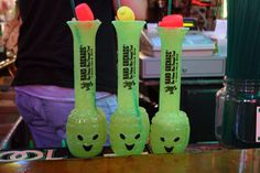 Beware: The Hand Grenade.  Just had one of these things, and...DAMN. Made with 1.5 oz each of Gin, Grain Alcohol, Melon liqueur, Rum, & Vodka.