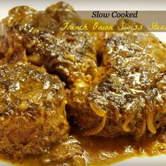Want a change for the age-old Swiss Steak recipe? Try this creamier French onion soup inspired slow cooker Swiss Steak recipe. Slow Cooker Beef, Slow Cooker Recipes, Crockpot Recipes, Cooking Recipes, Kale Recipes, Slow Cooker Swiss Steak, Cooking Tips, Chicken Recipes, Swiss Recipes