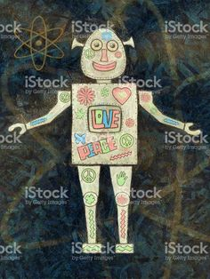 Groovy Robot Painting royalty-free stock illustration