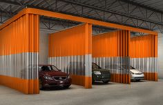 Autobody work bays are designed to separate maintenance work areas to better manage the cleanliness of the shop and the safety of workers. Find out more http://www.amcraftindustrialcurtainwall.com/products/autobody-shop-curtains/