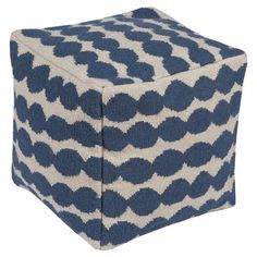 A chic addition to your living room or den, this lovely cotton pouf pairs a square silhouette with a playful geometric pattern in cobalt and white. ...