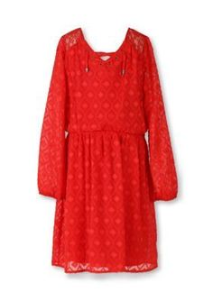 Speechless  Long Sleeve Lace Peasant Dress Girls 7-16