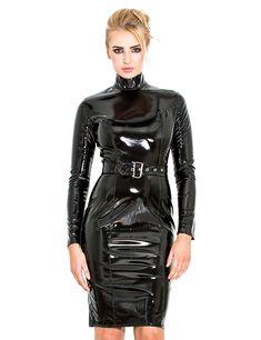 Honour Women's Pencil Dress in Black PVC Longsleeved Outfit High Collar Fetish Fashion, Latex Fashion, Vinyl Clothing, Vinyl Dress, Pvc Skirt, Leder Outfits, Latex Dress, Latex Outfit, Latex Wear