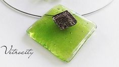 Fused Glass Pendant in Olive Green. Free Shippng by Vetrocity, $37.00