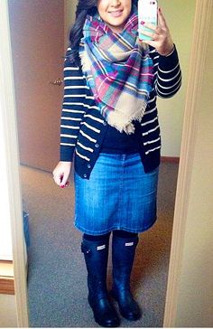 Love Jean skirts, stripped sweaters, blanket scarfs, and boots