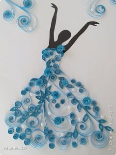 Arts n Craft Ideas - DancerQuilling - lady in blueBeautiful work of quilling SLVH ❤❤❤❤This Pin was discovered by KiaTrying to figure out how you can generate some extra income by doing things you love? How about making some inexpensive DIYs y Neli Quilling, Paper Quilling Patterns, Quilled Paper Art, Quilling Paper Craft, Paper Crafts, Hobbies And Crafts, Diy And Crafts, Arts And Crafts, Button Art