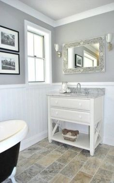 Eye-Opening Useful Ideas: Wainscoting Bathroom Farmhouse wainscoting interior bedrooms.Wainscoting Corners Small Spaces traditional wainscoting how to build. Bad Inspiration, Bathroom Inspiration, Bathroom Ideas, Bathroom Designs, Grey Bathrooms, Beautiful Bathrooms, Bathroom Gray, Bathroom Taps, Bathroom Colors