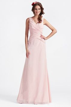 $99 Pale Pink V-neck Ruched Floor-length Bridesmaid Dress- International Shipping