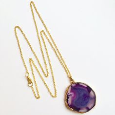 Putney - One of a kind, natural purple agate semi-precious stone with extra long gold plated chain.  Handmade in Britain.  Enjoy free delivery on every order at Lydia of London.