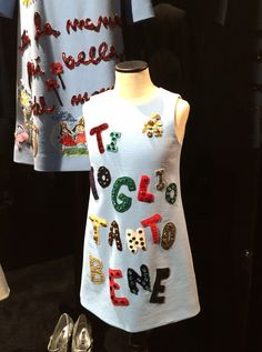Young girls version of the mama dress by Dolce & Gabbana for fall 2015 kidswear