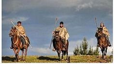 Beautiful shot of Mapuche men wearing their ponchos and riding in style ✌️️ Image taken from Pinterest #chile #culture #horses #mapuche #tribe #travel #slow 🗿 🗿 🗿 🗿 🗿 🗿 🗿 🗿 #oldfashioned #style #lifestyle #slowliving #clouds #nature #wool #ponchos #spears #journey #amazing #people #wisdom