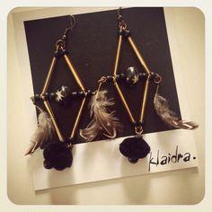 *Rhombus* feather earrings#klaidra #designers #earrings #newcollection #ethnic #gypsy #bohemian #fw15 #polaroid #greekdesigners #handmade #jewelry #klaidrajewelry