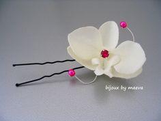 Orchidée ivoire pour coiffure mariage cérémonie par bijouxbymaeva