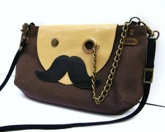 VEGAN Mr Mustache with Monocle Brown Cotton Cross Body by askida