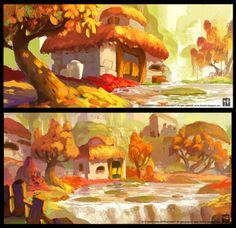 Wanchana Intrasombat on Behance Art Et Illustration, Illustrations, Art Environnemental, Bg Design, Landscape Artwork, Animation Background, Matte Painting, Visual Development, Environment Design